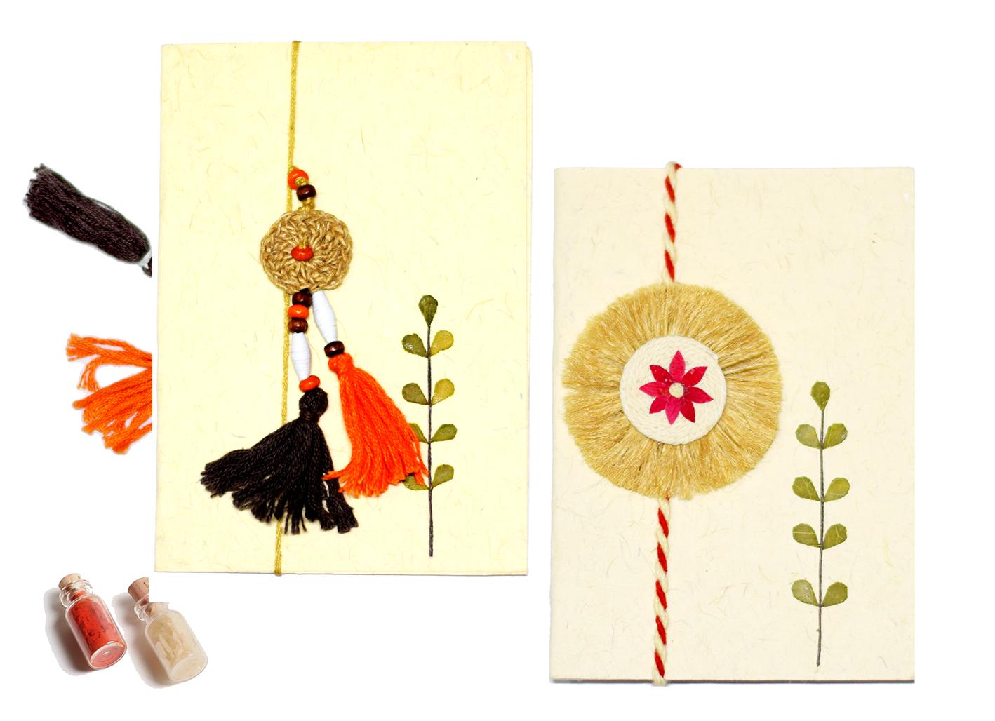 Earth (Star) Rakhi & Ornate (Orange) Lumba- (Bhayya & Bhabi Set)
